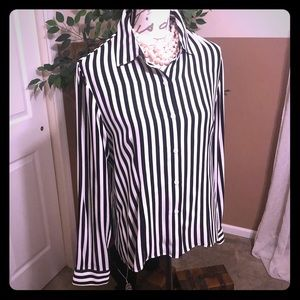MK Black + White %100 silk blouse